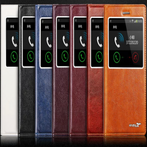 Kindtoy Window S View Flip Galaxy Note 4 Leather Case with Suction Cup
